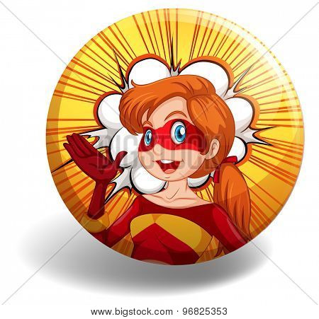 Badge of a superwoman character in red and yellow costume