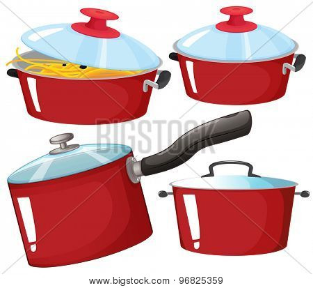 Flashcard of red color set with pictures of kitchenware
