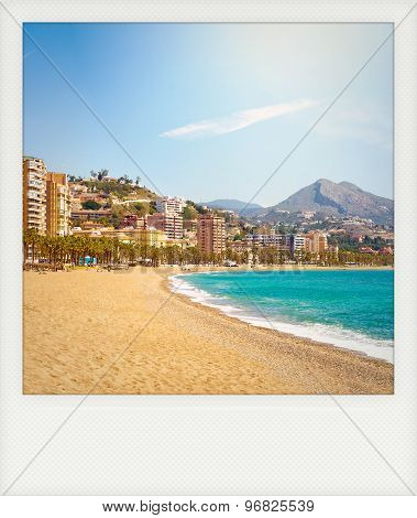 Instant Photo Of Malagueta Beach In Malaga, Andalusia, Spain.