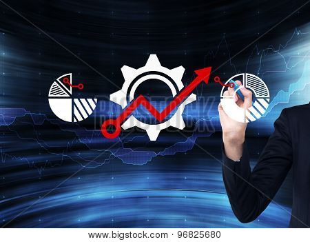 Businessman Is Drawing Gears With Red Drawing Arrow On The Glass Screen. Blue Modern Background.