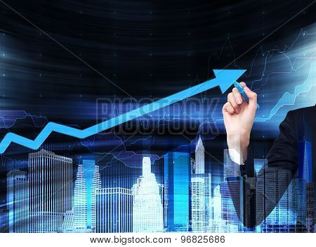 A Hand Is Drawing A Growing Arrow On The Glass Screen. A Concept Of Financial Business Services. Hol