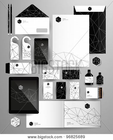 Abstract thin line polygonal