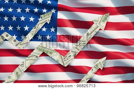 Growing Dollar Notes Arrows Over The Flag Of United State Of America.