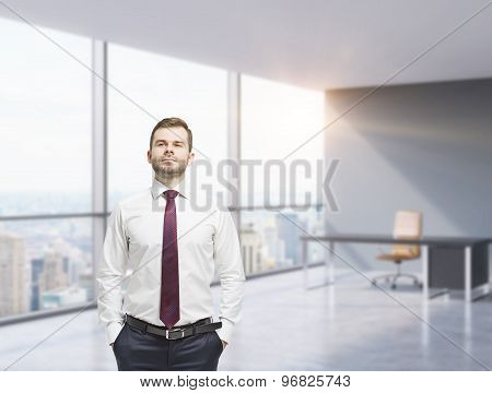 Confident Businessman With Hands In Pockets. Modern Panoramic Office With Huge Windows. New York Vie
