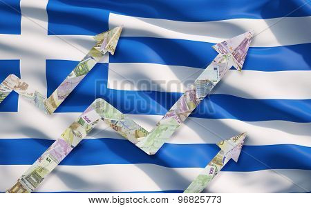 Growing Euro Notes Arrows Over The Greek Flag.