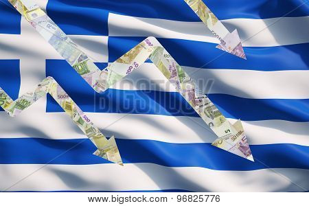 Falling Down Arrows Made Of Euro Notes Over Greek Flag.