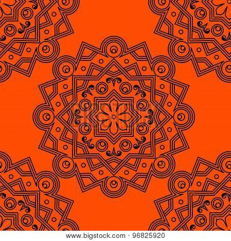 Mandala. Round ornament on orange background. Vector illustration.