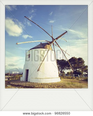 Instant Photo Old Windmill In Vejer De La Frontera, Andalusia, Spain.
