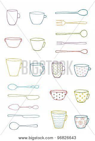 Cups Mugs Silverware Outline Drawing Design Set