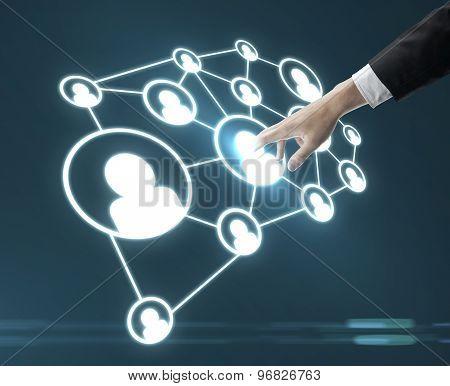 Man Pushing Social Media Interface