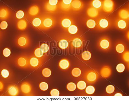 Abstract Defocused And Blur Bokeh Of Small Yellow Lights
