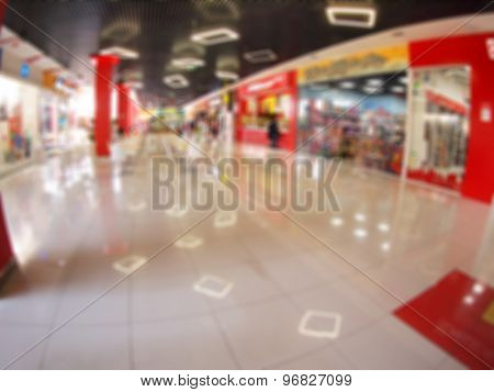 Defocused And Blur The Hall In A Large Mall