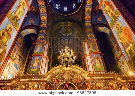 Ancient Mosaics Golden Sreen Icons Dome Basilica Saint Michael Monastery Cathedral Kiev Ukraine