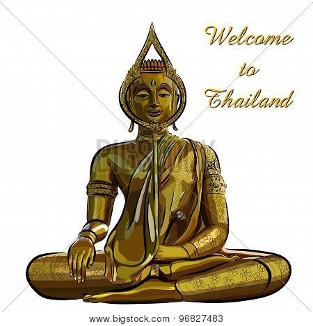 thai gold buddha meditation on a white background. Vector