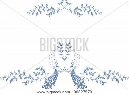 Pattern. Birds of paradise sitting on a branch with berries. EPS10 vector illustration