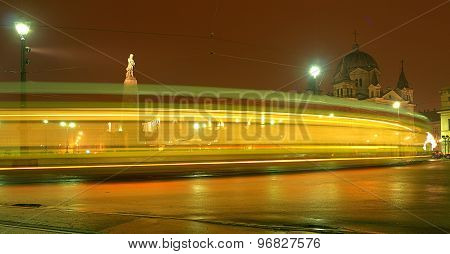 Tram on Freedom Square in Lodz.