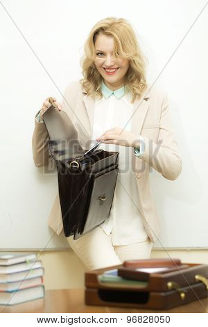 Smiling Business Woman With Briefcase