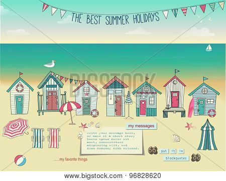 Beach Huts - Summer poster and advertisement for summer holidays, with bunting, lounge chairs, beach umbrellas, summer accessories, sandy beach and paper notes with plenty of copyspace, hand drawn