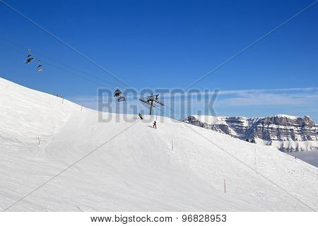 Slope on the skiing resort. Switzerland