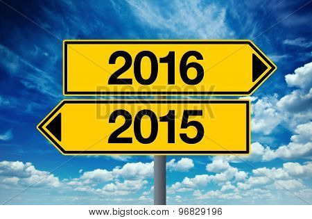2016, Happy New Year Street Sign Concept