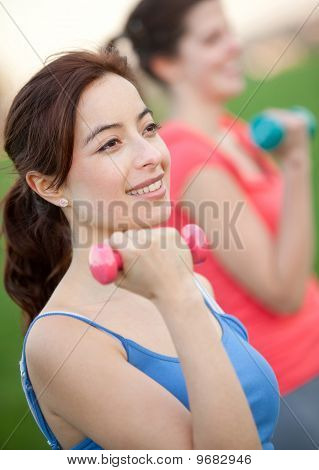 Girls Exercising Outdoors