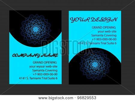 Set Of Business Cards With Blue And Black Background. Arabic Mandala, Vector Illustration.