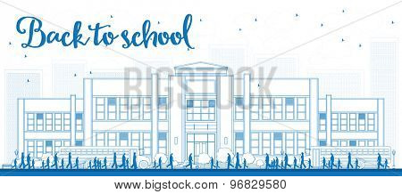 Outline Landscape with school bus, school building and people. Vector illustration