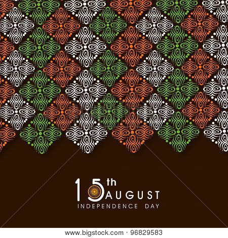 Greeting card design decorated with tricolor floral pattern for 15th August, Indian Independence Day celebration.