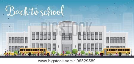 Landscape with school bus, school building and people. Vector illustration