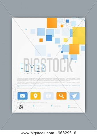 Creative business flyer, template or corporate brochure with colorful abstract and hi tech design.