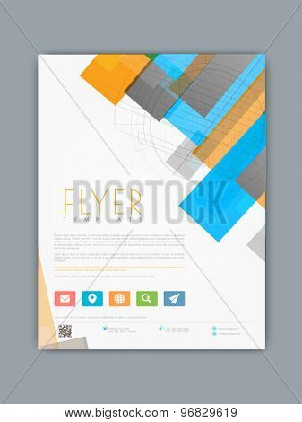 Stylish business flyer, banner or template with colorful abstract and hi tech design.