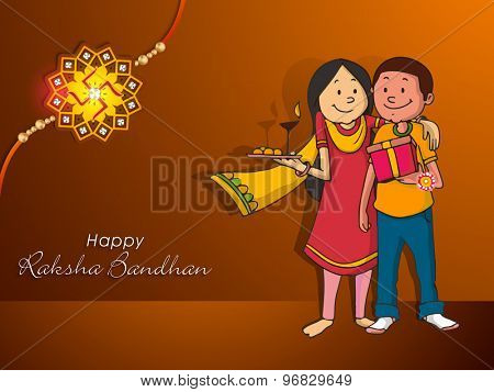 Cute brother and sister celebrating for Indian festival, Raksha Bandhan on brown background.