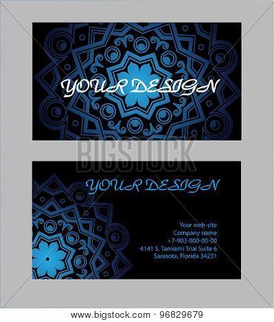 Set Of Business Cards With Black Background. Arabic Mandala, Vector Illustration.