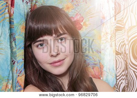Portrait Of A Beautiful Teenage Girl And Her Wardrobe, With Bokeh