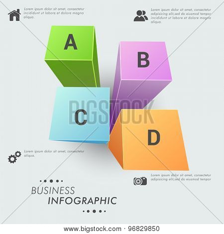 Colorful 3D Infographic layout on grey background for business data presentation.