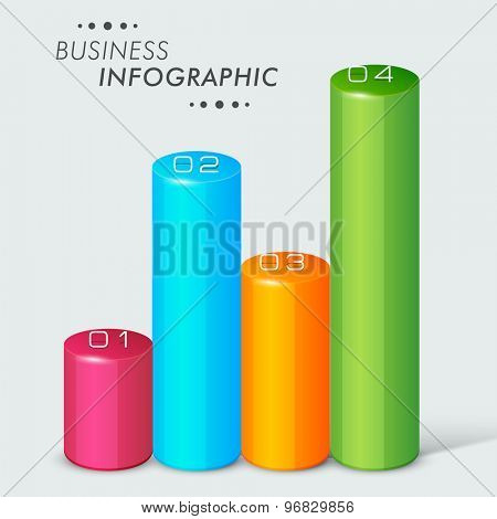 Colorful 3D Infographic bars with numbers on grey background for business and corporate sector.