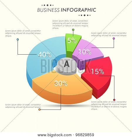 Colorful 3D pie chart with different percentage for your business repors and data presentation.