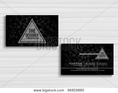 Two sided presentation of a creative business or visiting card design for your company on stylish grey background.