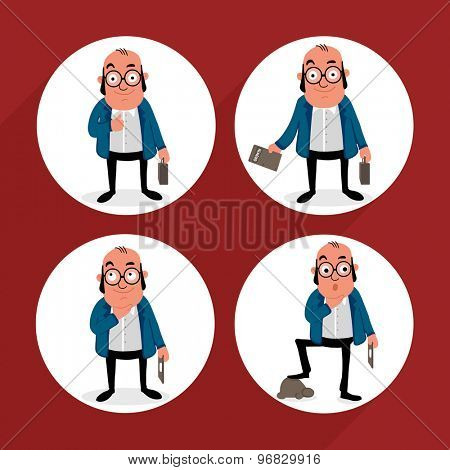 Set of business man characters in different poses.