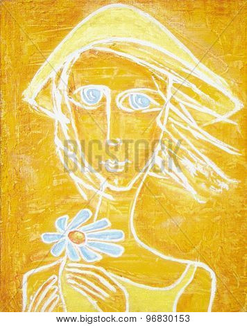 Picture Of Sunny Blue-eyed Girl With Blue Flower