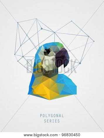 Abstract Polygonal Bird. Colorful Triangles Background. Geometric Illustration. Low Poly Poster