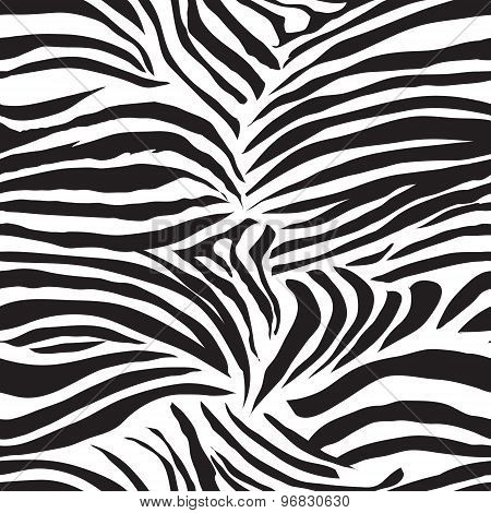 Black And White Zebra Animal Seamless Vector Print