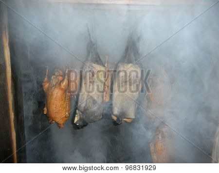 Meat is smoked