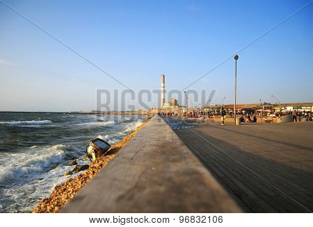 Perspective On Tel Aviv Harbor. The Chimney Of Reading Power Station Seen In The Horizon