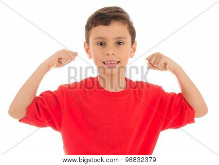 Strong young boy showing his biceps muscles