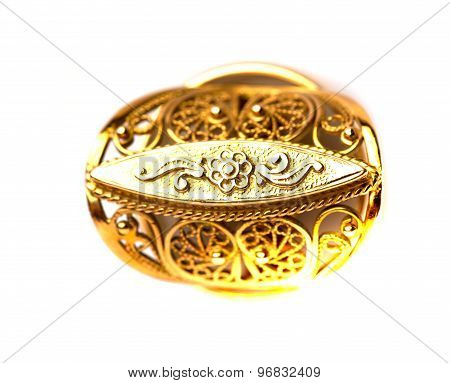 Gold Ring Isolated On A White Background.top View