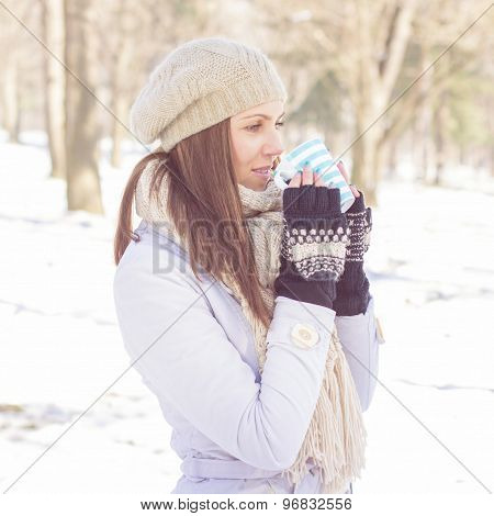 Lovely Female Enjoying Drinking Hot Tea