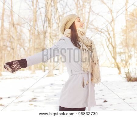 Enjoyment Happy Lovely Relaxing Young Woman Enjoying Winter