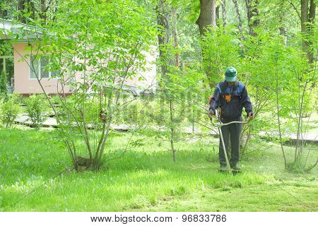 Worker with lawn mower in the garden