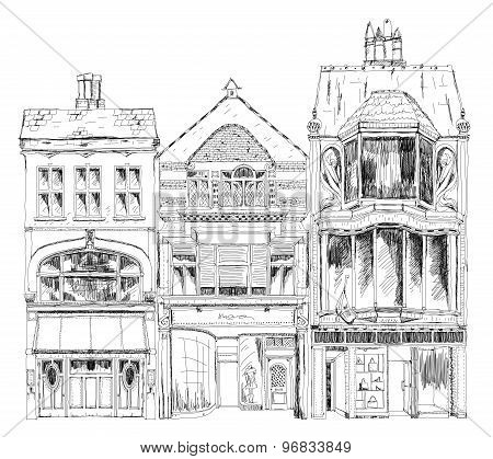 Old English town houses with small shops or business on ground floor. Bond street, London. Sketch co